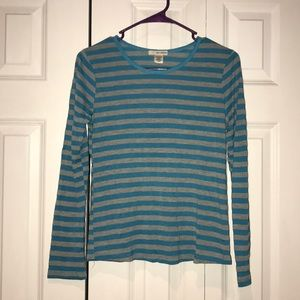 Tops - Blue and Gray striped long sleeve